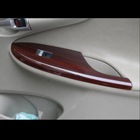 For TOYOTA Corolla 2007-2013 4PCS Wood ABS Chrome Car Interior Door Window Lift Glass Switch Buttons Cover Molding Car Styling