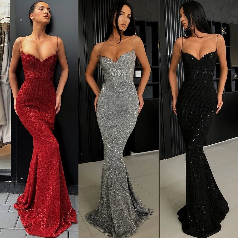 Sparkly Spaghetti Strap Long   Prom     Dresses   Sexy Deep V-Neck Mermaid   Prom   Gowns Custom Make Party   Dresses   Vestidos De Gala