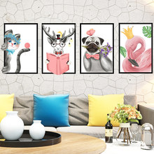 Dropshipping Colomac Stickers Warm Bedroom Cartoon Animal Photo Frame Wall Sticker Wall Paper Living Room Wall Decoration(China)