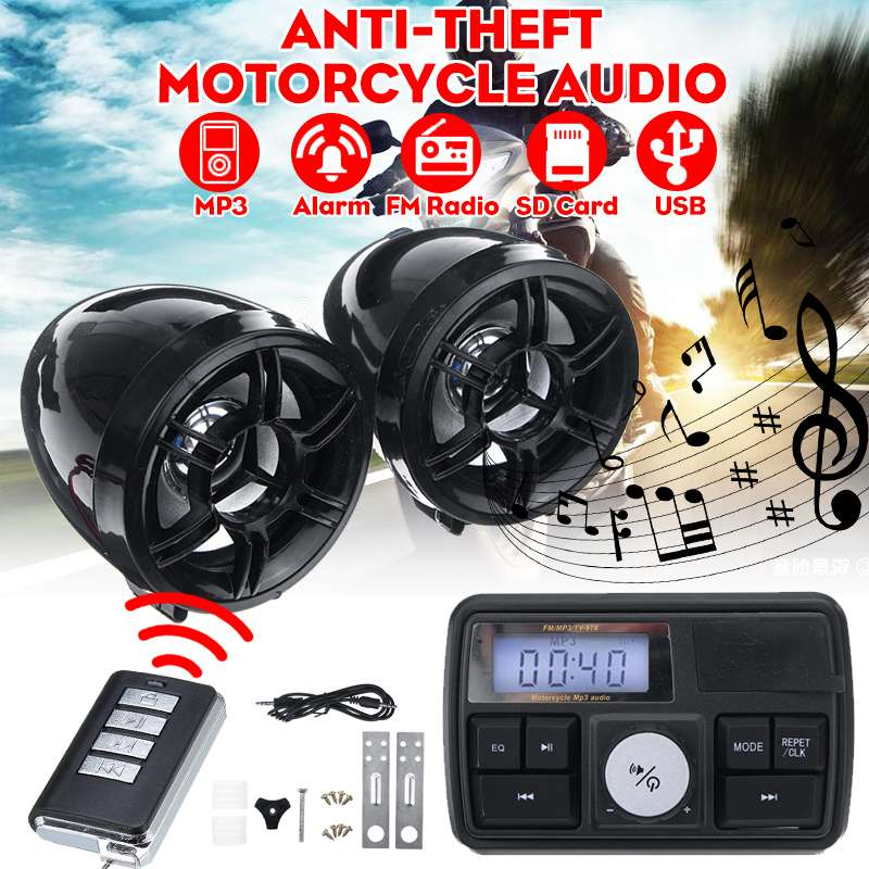 Audio del motociclo di trasporto Impermeabile Anti-furto Sistema di Allarme Stereo Sound Speaker Radio FM MP3 Music Player Amplificatore con Telecomando