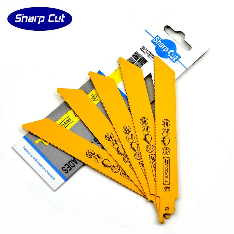 50% OFF 6 HSS-Bimetal Reciprocating Saw Blade (saber saw blade) 18TPI For Cutting Metal Hacksaw Blades Reciprocation Saw blade