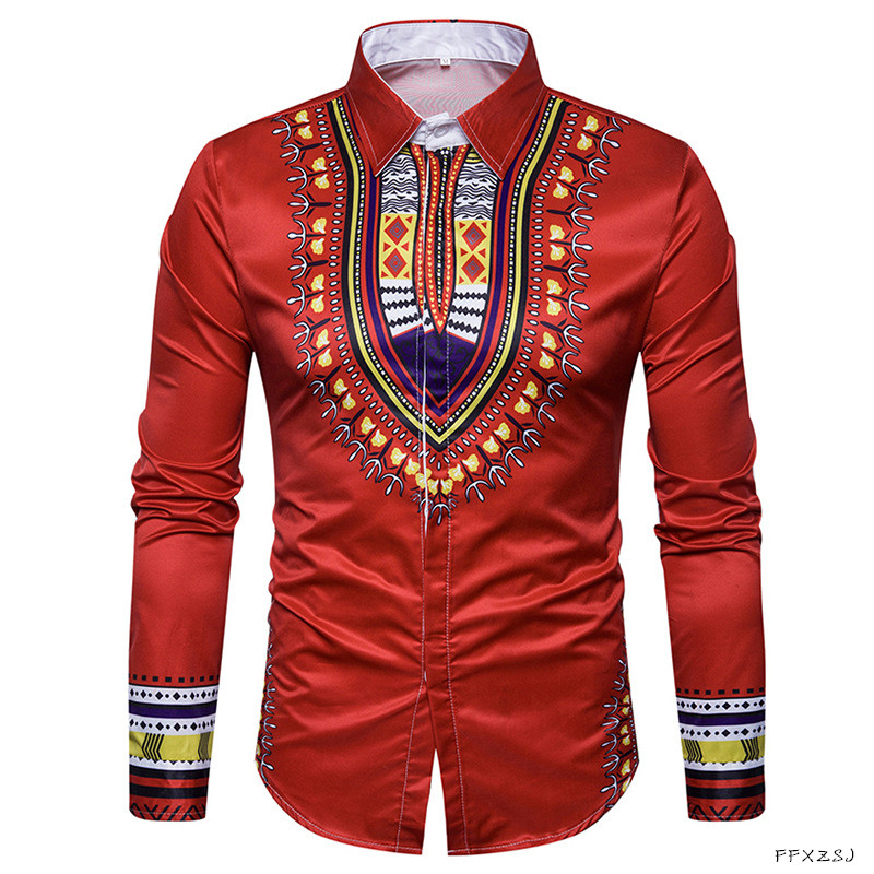 New Tops men 39 s casual shirt 2018 spring 3D National style printing Floral pattern men fashion Edition long sleeve Shirt EU size in Casual Shirts from Men 39 s Clothing