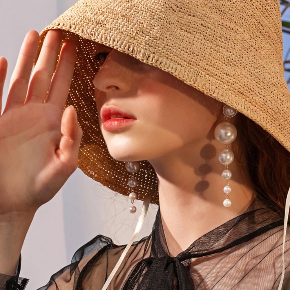 SUKI Boho Elegant Created Big Simulated Pearl Long Drop Earrings String Statement Dangle Statement Multiple Pearls Long Earrings