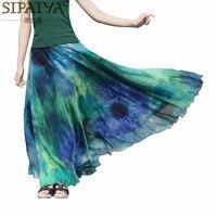 Summer Womens Long Skirts 2015 Ankle Length Pleated Chiffon Beach Boho Skirt Female Vintage Saia Longa