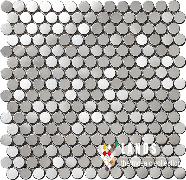 Penny Round Stainless Steel Metal Mosaic Tile Kitchen Backsplash Bathroom  Wall Tile Interior Background Decor Wallpaper
