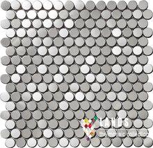 Penny round stainless steel metal mosaic tile kitchen backsplash bathroom wall tile interior background decor wallpaper,SA021