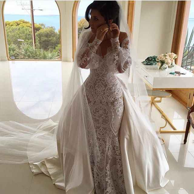 1348cb57d2 Detail Feedback Questions about Amazing Vintage 2019 Designer Illusion Lace Applique  Mermaid Long Sleeve Wedding Dresses with detachable Train wedding gown ...