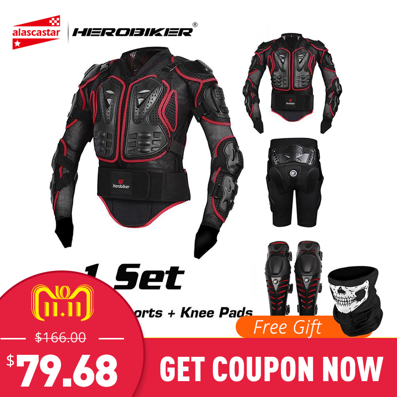 HEROBIKER Motorcycle Jacket Men Protection Armor Motorcycle Motocross Clothing Racing Full Body Armor Protective Gear Moto Armor недорго, оригинальная цена