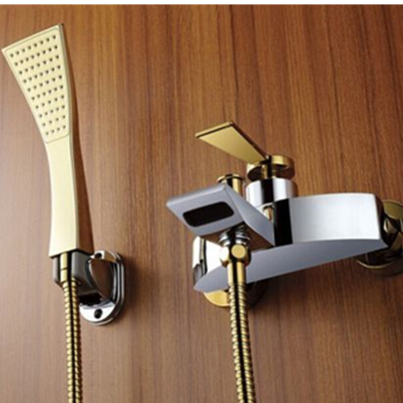 Homedec New Gold&Chrome Bathroom Bathtub Faucet Tub Hot&Cold Tap Filler with Hand shower anon маска сноубордическая anon somerset pellow gold chrome