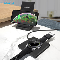 DCAE 10W Qi Wireless Charger for Samsung S10 S9 iPhone XS XR X 8 2 in 1 Fast Charging Pad For Galaxy Watch Buds Gear S3 Airpods