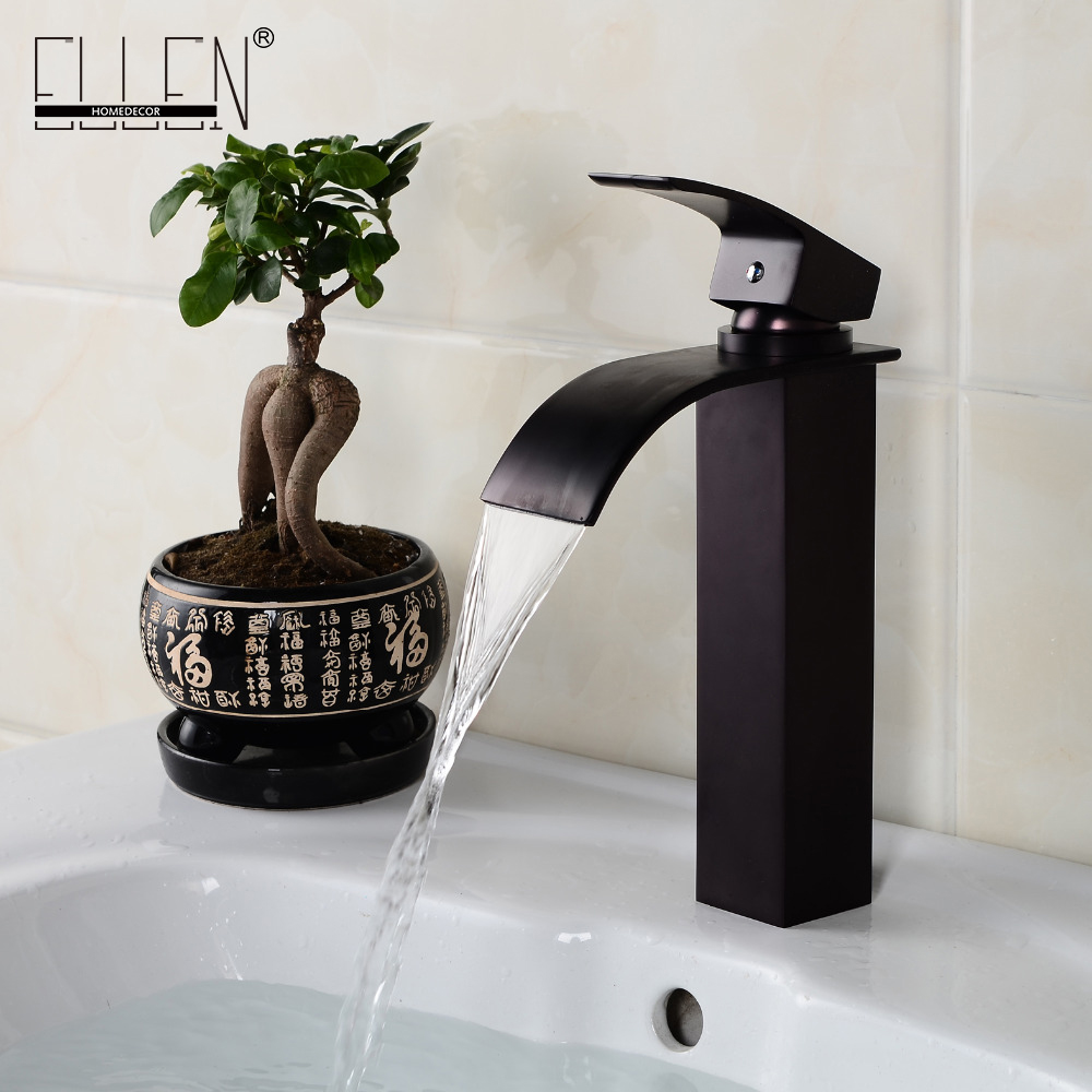 Oil rubbed bronze tall faucet bathroom black sink tap square ...