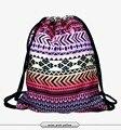 Nova moda mochila escolar 3d impressão asteca mulheres softback mochila feminina harajuku saco de cordão mochilas unissex