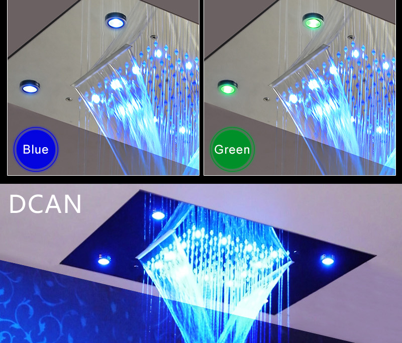 LED Ceiling Shower Head Rain Waterfall Shower Massage Jets Wall Mounted Panel Tap Sets Thermostatic Mixer (4)