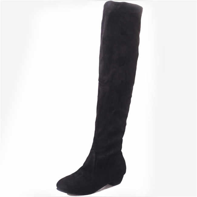 1 adet Kadınlar Streç Faux Süet Uyluk Yüksek Çizmeler Seksi Moda Diz Çizmeler Yüksek Topuklu Kadın Ayakkabılar Çoklu renk Ayakkabı