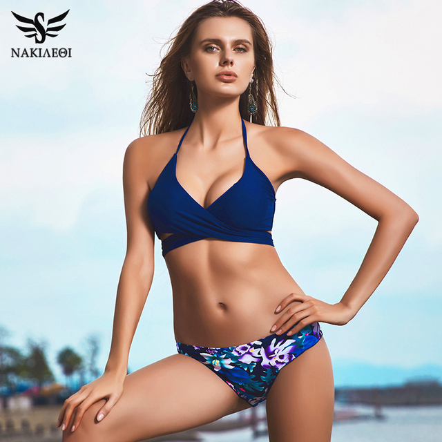 2b2f9aab74 NAKIAEOI 2019 Sexy Cross Brazilian Bikinis Women Swimwear Swimsuit Push Up  Bikini Set Halter Top Beach