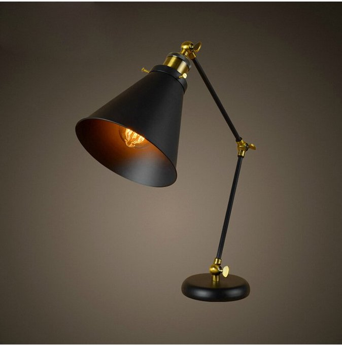 New Adjustable Retro Iron Home Cafe Bedroom Table Lamp