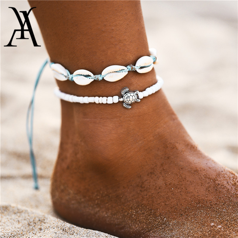 2019 Boho Ocean Beach Adjustable String Macrame Mussel Sea Shell Cowrie Ankle Bracelet White Beads Turtle Anklets for Women