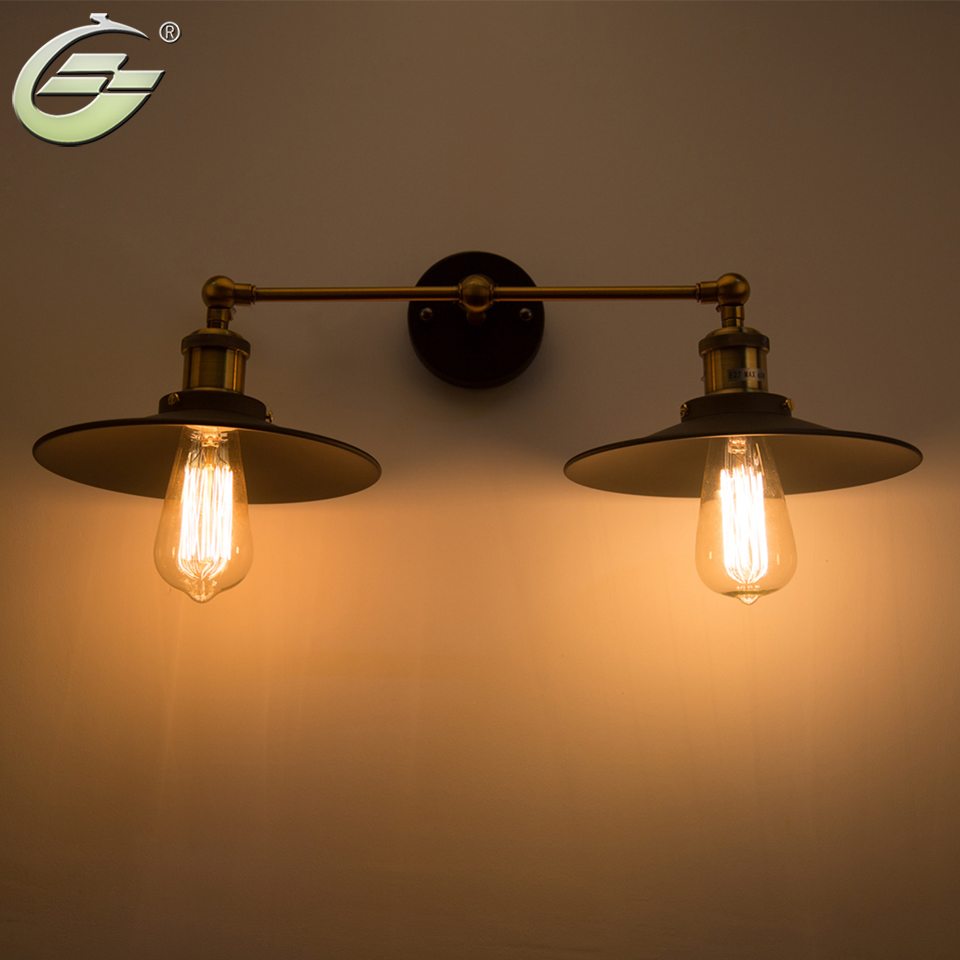 Vintage Loft Metal Double Heads Wall Light Retro Wall Lamp Country Style Lighting Fixtures For