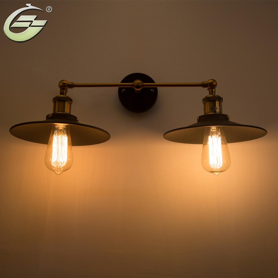 Vintage Loft Metal Double Heads Wall Light Retro Wall Lamp ...