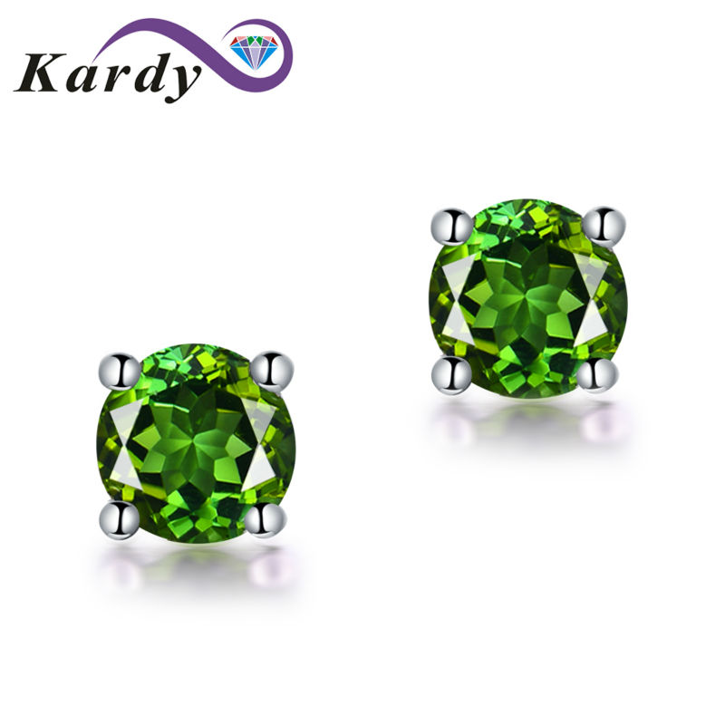 Fashion Jewelry White Gold 14K Genuine Green Tourmaline Gemstone Real Promise Wedding Engagement Stud Earring Sets