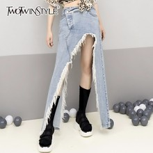 TWOTWINSTYLE Tassel Denim Skirt For Women High Waist Split Large Size Irregular Skirts 2020 Female Summer Sexy Fashion Clothing