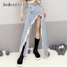 TWOTWINSTYLE vaquero con fleco falda para las mujeres de cintura alta dividir tamaño faldas 2020 mujeres de verano de ropa de moda