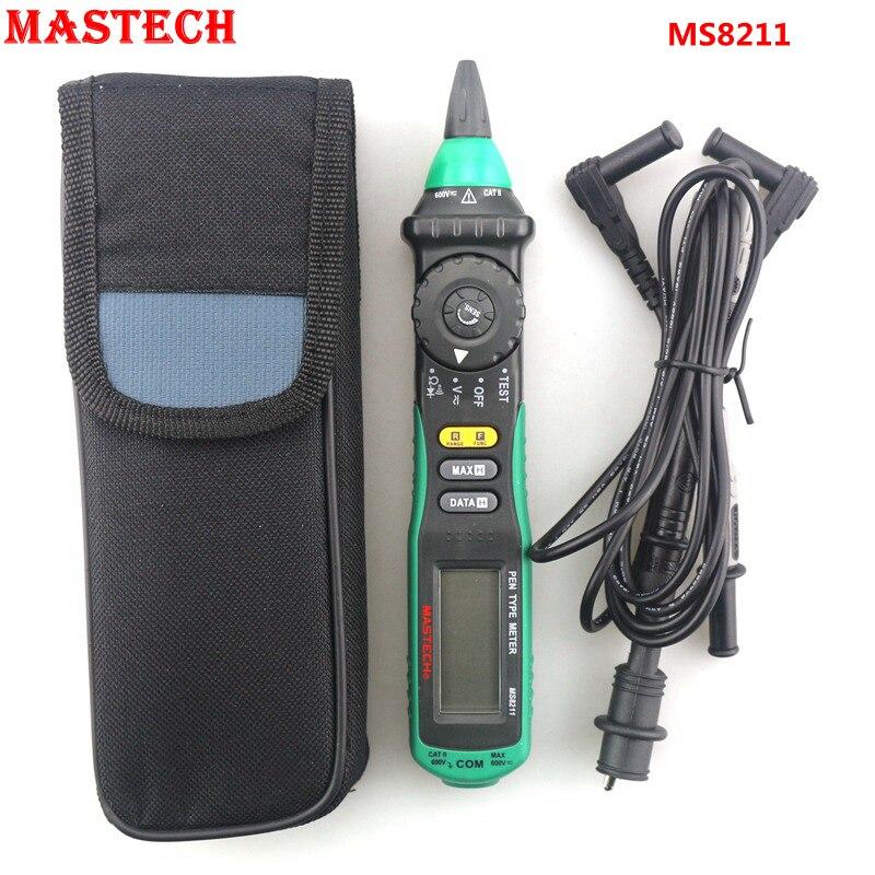 MASTECH MS8211 PEN Tipo Multimetro Digitale Senza contatto AC DC 600 V Voltmeter Ohm Tester Auto Range NCR 2000 Metri LCD Display