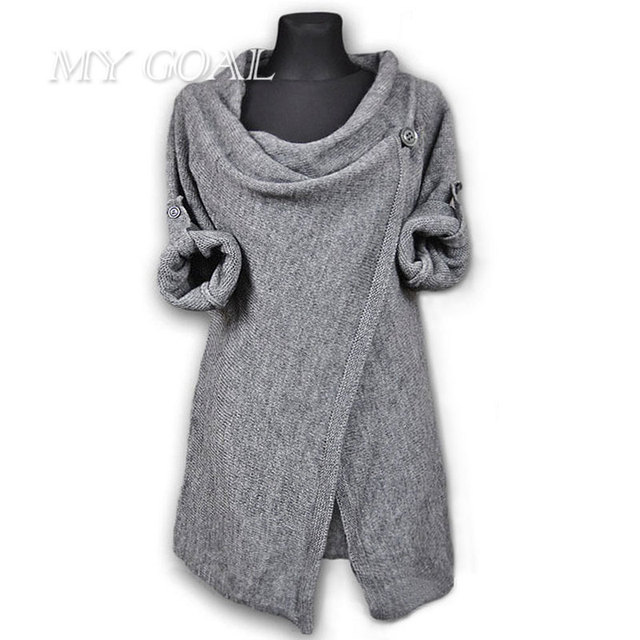 2a7fc039b Irregular Women Pllovers Autumn Winter Casual Gray Sweaters Pullovers Long  Sleeve O Neck Knitted Blouse Tops