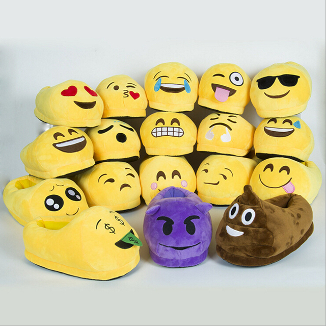 caf52a7a22c New Arrive Men And Women Emoji Shoes Yellow Cotton Plush Emoji Slippers  Creative Funny Home Soft Shoes