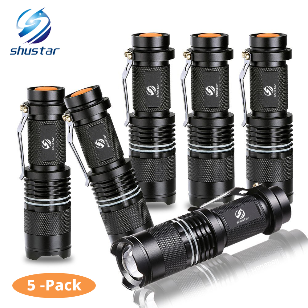 5 Pack Mini powerful led flashlight CREE Q5 2000 Lumens torch with luminous ring zoomable flashlight 3 modes led torch use AA
