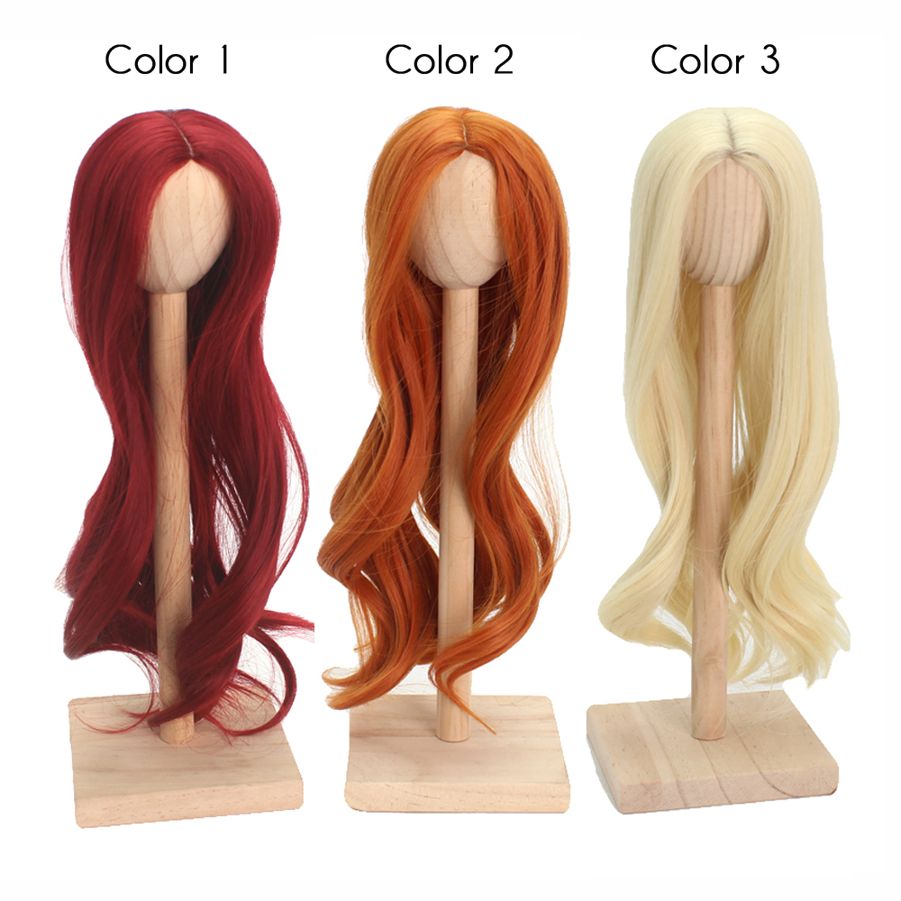 High Temperature Fiber Light Blonde Long Loose Curly Halve Doll Hair For 1 3 1 4 1 6 BJD SD Red Gray Golden Orange White Color in Dolls Accessories from Toys Hobbies