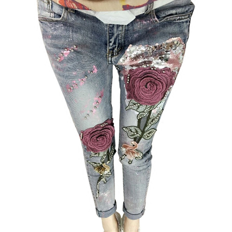 3D Flower Sequin Embroidered Rose Jean Fashion Beading Stretch 2017 Fashion Female Jeans Long Trousers Vintage