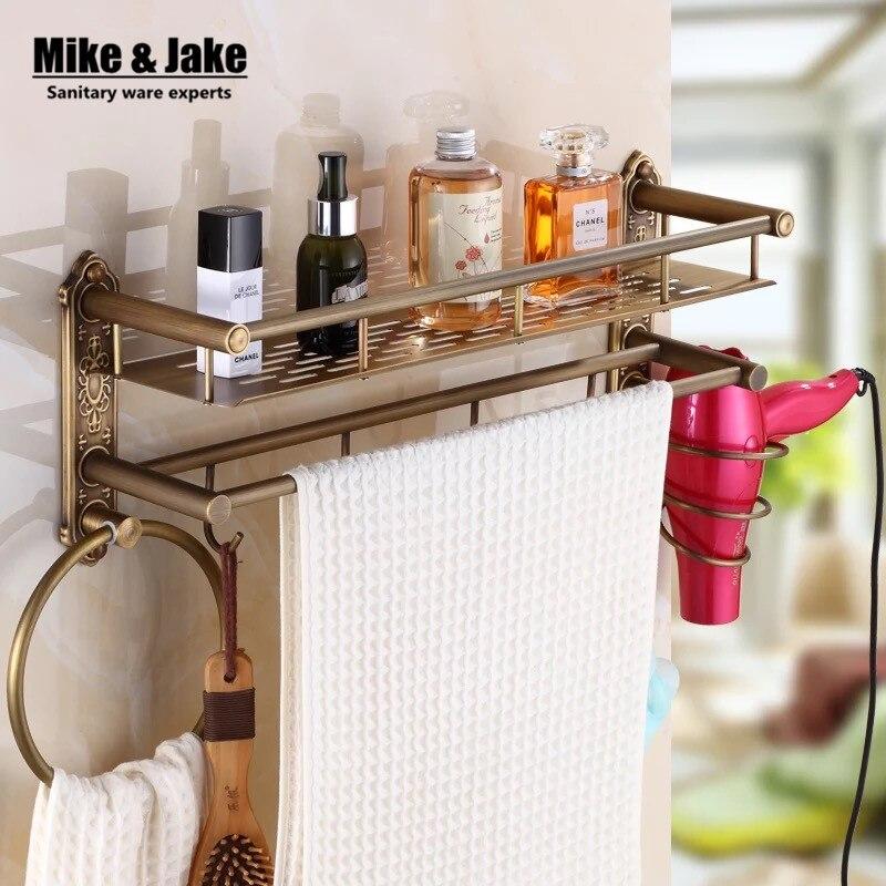 US $32.39 10% OFF|Bad antiken messing badezimmer regal mit haar regal  handtuchhalter bad regal mit haken korb für bad halter-in Badezimmerregale  aus ...