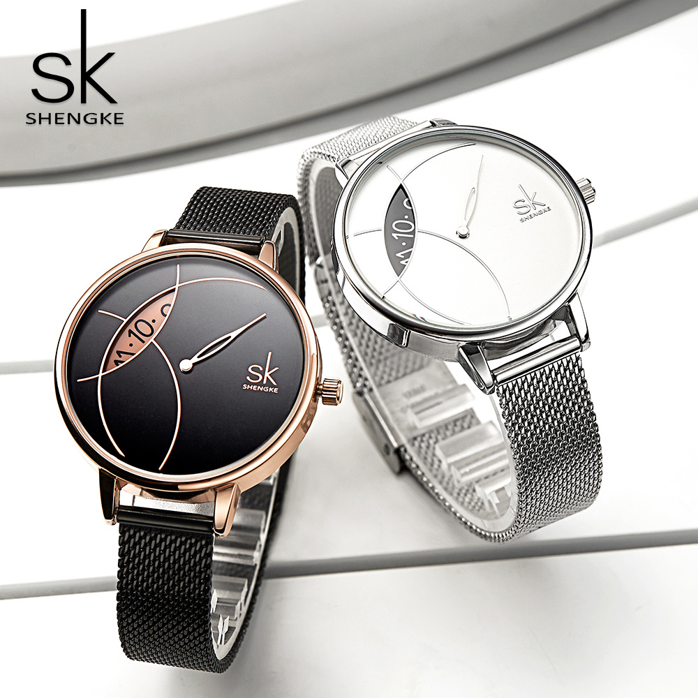 Shengke Women Fashion Watch Creative Lady Casual Watches Stainless Steel Mesh Band Stylish Desgin Silver Quartz Watch for Female 1