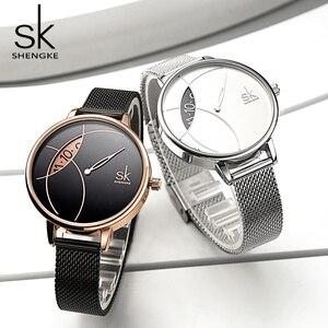 Image 2 - Shengke 여성 패션 시계 크리 에이 티브 레이디 캐주얼 시계 스테인레스 스틸 메쉬 밴드 세련된 Desgin 실버 쿼츠 시계 여성을위한