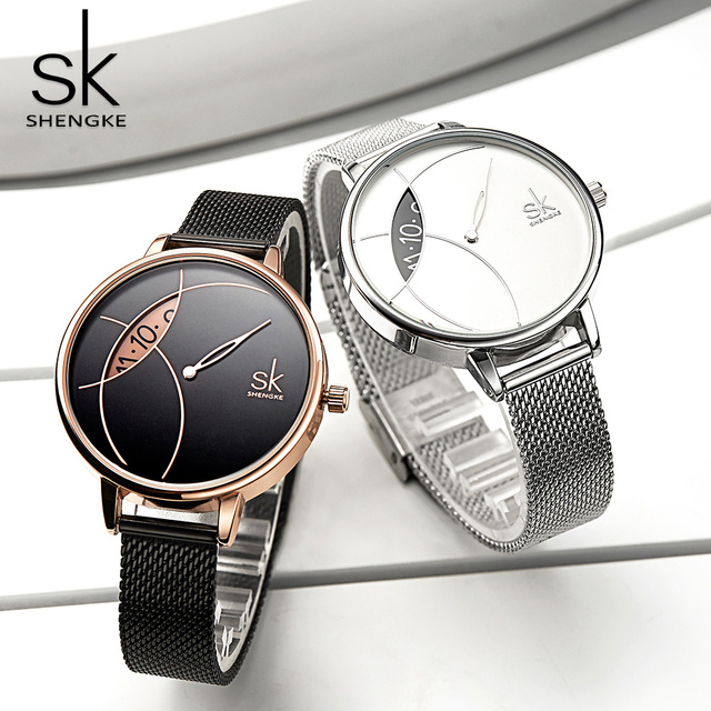 Shengke Women Fashion Watch Creative Lady Casual Watches Stainless Steel Mesh Ba