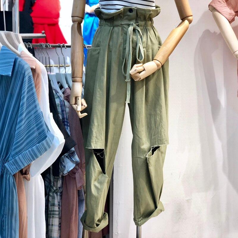 Nadafair Hohe Taille Frauen Breite Bein Hosen Streetwear Belted Lose Gestreiften Capris Hosen Elegante Gerade Hose Für Weibliche