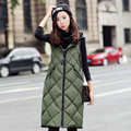 2016 Fashion Long Vest Hooded Korean Cotton Vest Autumn Winter Slim Plus Size Jacket Female Casual Zipper Cotton Down Coat Women