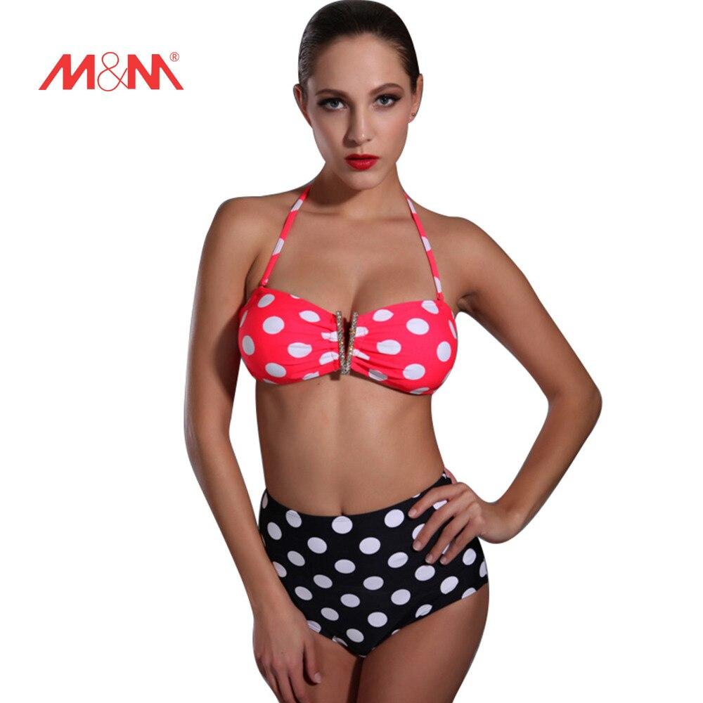 2016 Lovely Dot Print Sexy Bathing Suit Bikini Push Up Halter Swimsuit Bikini Set Biquini Maillot De Bain Swimwear SAKJ1616YDS s to xl 2016 sexy push up bikini strappy swimsuit swimwear women halter bathing suit bather biquini maillot de bain