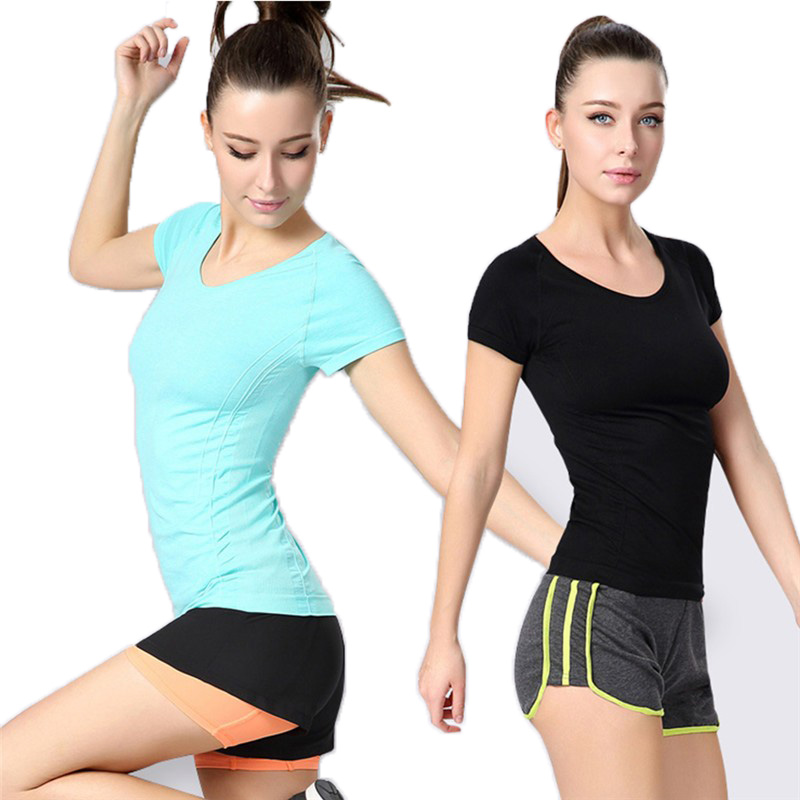 Breathable Womens Workout Shirts Fitness Esportes Correndo T shirts Gym Training Running Sports Short Sleeves O-neck Tops