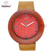 IBigboy Relojes Para Hombres de Palo de rosa de Sándalo De Madera De Lujo Relogio Del Reloj de pulsera de Cuarzo Deportes de La Moda de Las Mujeres Unisex de Cuero Natural