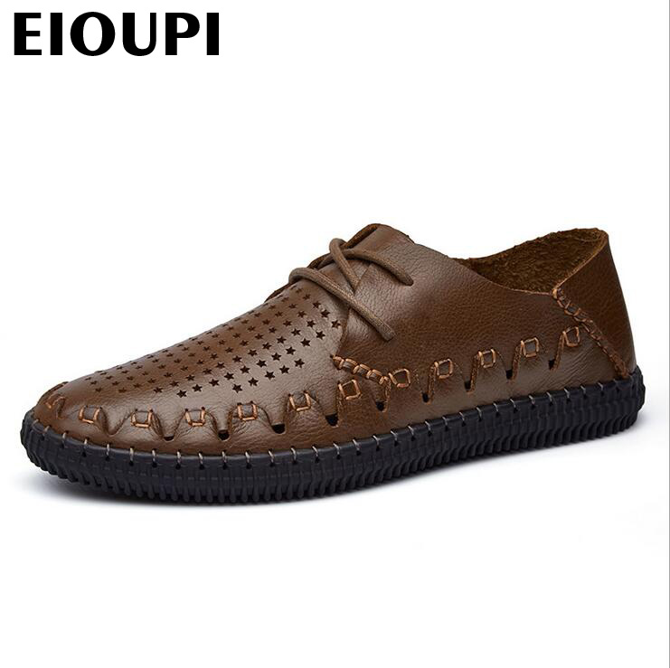 EIOUPI top quality new design genuine real cow leather mens fashion business casual shoe breathable men shoes lh1522 new british style real top cow leather boots qshoes mens business dress casual fashion men personalized round toe boot y97 663