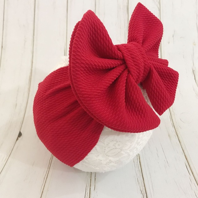 7 Inch Big Bow Headband For Girls 2019 Solid Large Hair Bows Elastic Turban Head Wraps Kids Top Knot Hairband Hair Accessories