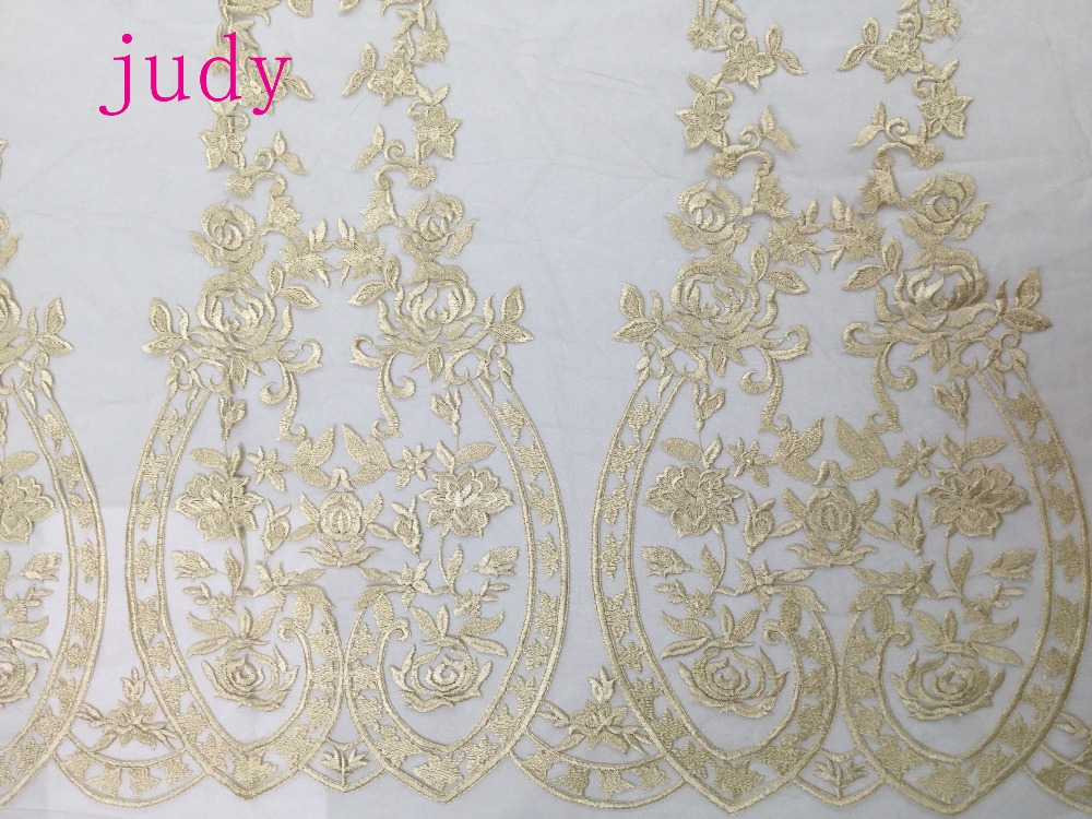 stock MX51# Pale golden flower leaves of high grade embroidery fabric is used in wedding gown fabric Free shipping