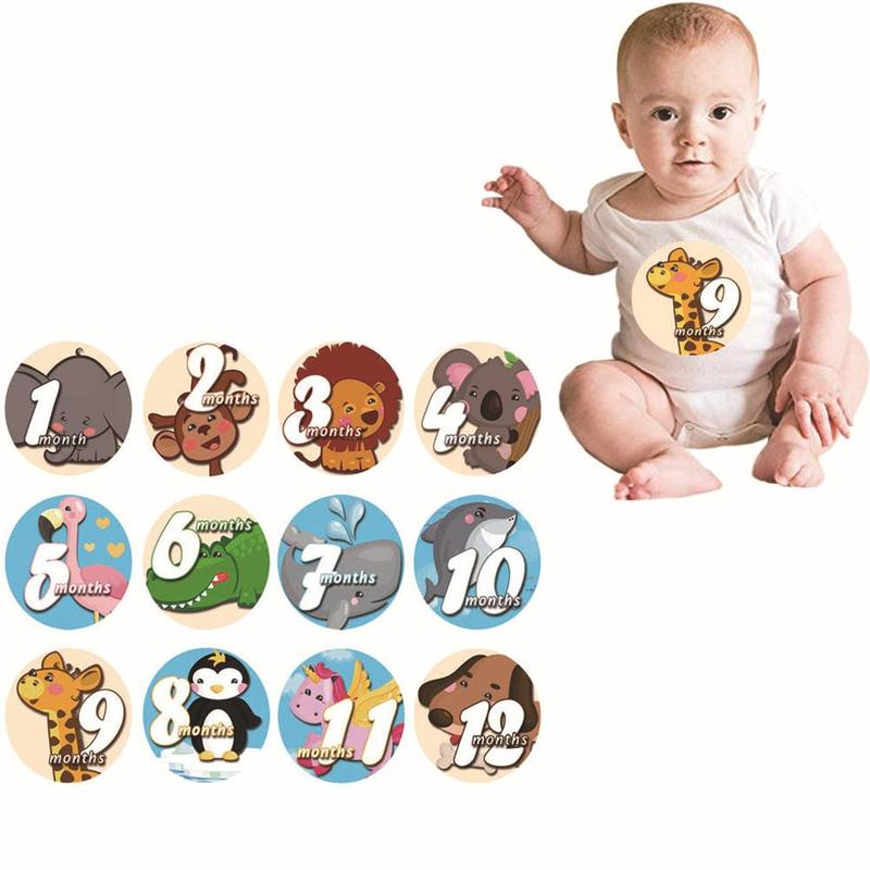 1-12 Month Newborn Cartoon Tights Stickers Round Month Stickers Digital Printing Milestones Clothing Accessories Shooting Props