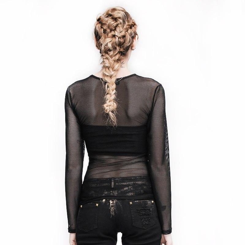 Qara Punk Gothic T-shirt Kişilər Qadın Şəffaf Uzun Qollu - Qadın geyimi - Fotoqrafiya 3