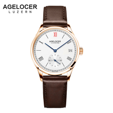 AGELOCER Switzerland Women Brown Strap Dress Watches Luxury Gold Female Casual Watch Ladies Sapphire Mechanical Watch