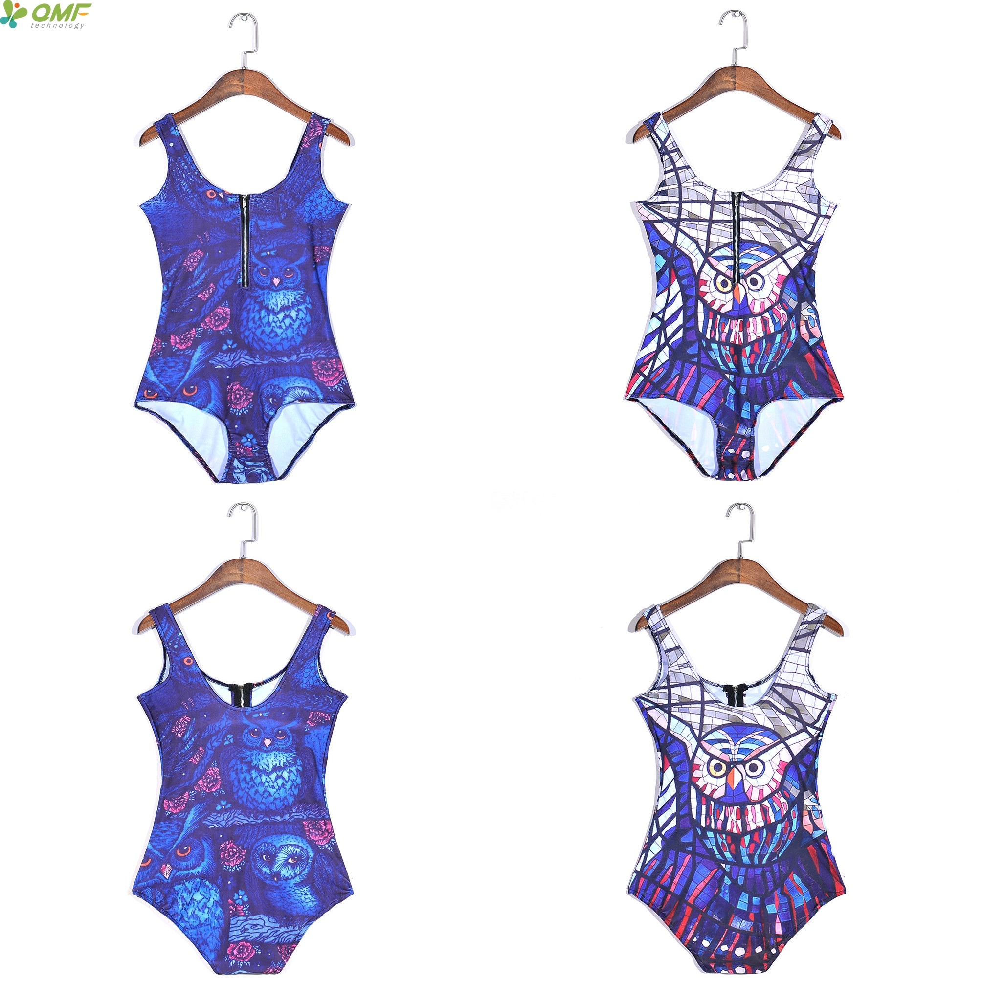 fc7800a16ad Abstract Owl Plus Size Swimsuits Sexy High Waist Swimwear Biquinis Navy  Blue Womens Zipper Slim Bathing