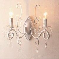 Branco preto lâmpada de parede cabeças duplas e14 vela luz metal lâmpadas parede cristal europeu clássico do vintage luminária parede|Luminárias de parede| |  -