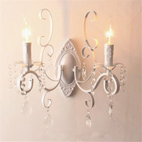 White Black Wall Lamp Double Heads E14 Candle Light Metal Crystal Wall Lamps European Classic Vintage Wall Lighting Fixture